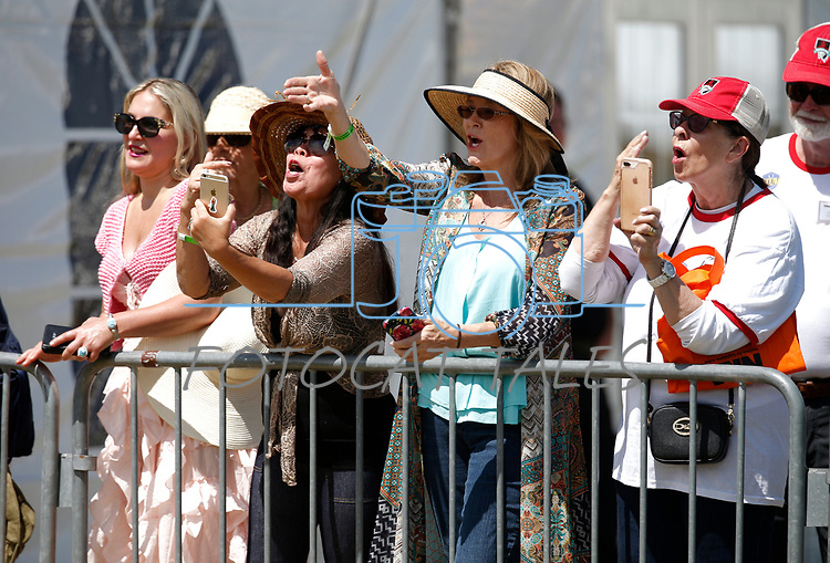 Supporters call to Kellyanne Conway following her speech at the 4th annual Basque Fry in Gardnerville, Nev., on Saturday, Aug. 25, 2018. Hosted by the Morning in Nevada PAC, the event is a fundraiser for conservative candidates and issues and includes traditional Basque dishes like deep-fried lamb testicles.(Cathleen Allison/Las Vegas Review Journal)