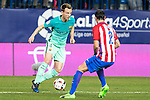 FC Barcelona's midfielder Ivan Rakitic (L) and Atletico de Madrid's defender Diego Godin (R) competes for the ball with  during the match of Copa del Rey between Atletico de  Madrid and Futbol Club Barcelona at Vicente Calderon Stadium in Madrid, Spain. February 1st 2017. (ALTERPHOTOS/Rodrigo Jimenez)