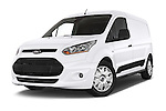 Stock pictures of low aggressive front three quarter view of a 2015 Ford Transit Connect Trend 5 Door Minivan Low Aggressive