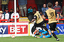 Kevin Lisbie of Leyton Orient collides with Chris Day of Stevenage and is booked for diving<br />  - Stevenage v Leyton Orient - Sky Bet League 1 - Lamex Stadium, Stevenage - 17th August, 2013<br />  © Kevin Coleman 2013