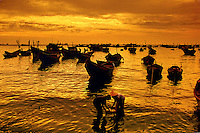 Fishing boats at sunset Vung Tau Vietnam.