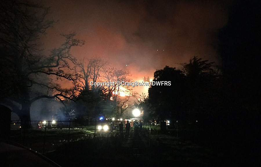 Bmth News (01202 558833)<br /> Pic:  CraigBaker/DWFRS/BNPS<br /> <br /> A £15m stately home has gone back on the market for a cut-price £2.5m after it was burnt to the ground in a suspected arson attack.<br /> <br /> Grade I listed Parnham House, near Beaminster, Dorset, is now just a charred shell of the magnificent mansion it once was following the blaze in April 2017.<br /> <br /> Its owner, hedge fund manager Michael Treichl, was arrested on suspicion of arson only to later drown in an apparent suicide. <br /> <br /> A sale for £3m was agreed for the Elizabethan manor fell through earlier this year and it has now been listed for sale again.
