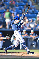 Asheville Tourists Cade Harris (4) breaks his bat during a game against the Columbia Fireflies at McCormick Field on June 22, 2019 in Asheville, North Carolina. The Tourists defeated the Fireflies 6-5. (Tony Farlow/Four Seam Images)