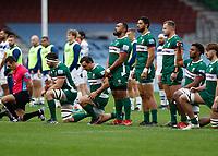4th October 2020; Twickenham Stoop, London, England; Gallagher Premiership Rugby, London Irish versus Bristol Bears; London Irish players kneel for anti-racism before kick off