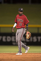 AZL Diamondbacks shortstop Geraldo Perdomo (12) during an Arizona League game against the AZL Cubs 1 at Sloan Park on June 18, 2018 in Mesa, Arizona. AZL Diamondbacks defeated AZL Cubs 1 7-0. (Zachary Lucy/Four Seam Images)