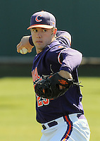 RHP David Haselden (29) of the Clemson Tigers prior to a game against the Wright State Raiders Saturday, Feb. 27, 2010, at Doug Kingsmore Stadium in Clemson, S.C. Photo by: Tom Priddy/Four Seam Images
