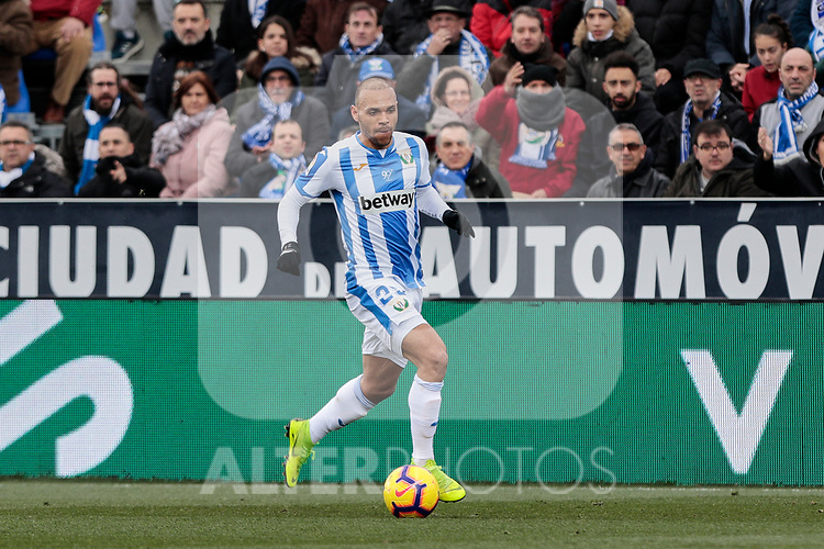 CD Leganes's Martin Braithwaite during La Liga match between CD Leganes and Real Betis Balompie at Butarque Stadium in Madrid, Spain. February 10, 2019. (ALTERPHOTOS/A. Perez Meca)