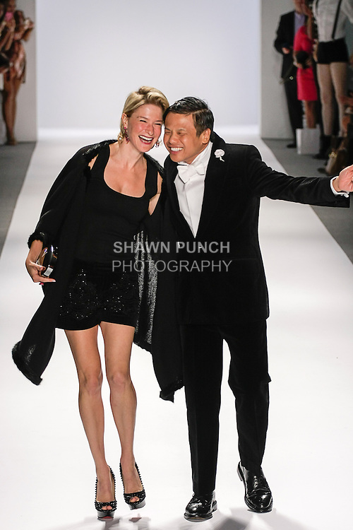 Fashion designer Zang Toi (right) and Vbeaute founder Julie Macklowe , walk runway at the close of Zang Toi Spring 2013 collection fashion show, during Mercedes-Benz Fashion Week Spring 2013 at Lincoln Center.