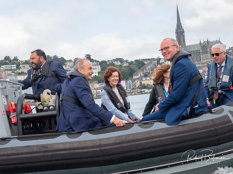 The Taoiseach Micheal Martin (left) and Minister for Foreign Affairs Simon Coveney were both afloat for the Royal Cork 300th celebrations late last month in Cork Harbour and used the opportunity to promote Ireland's America's Cup bid. Photo: Bob Bateman