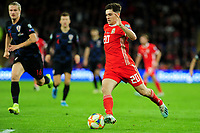 Daniel James of Wales in action during the UEFA Euro 2020 Qualifier between Wales and Croatia at the Cardiff City Stadium in Cardiff, Wales, UK. Sunday 13 October 2019