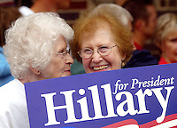 Irene Johnson, left, of Overland Park, Kan., and Jeanette Snadely of Emmetsburg, Iowa talk while waiting for Sen. Hillary Clinton to greet a line of supporters during a  campaign stop in Emmetsburg on May 26, 2007.