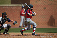 Evan Pietronico (4) of the NJIT Highlanders follows through on his swing against the High Point Panthers at Williard Stadium on February 18, 2017 in High Point, North Carolina. The Panthers defeated the Highlanders 11-0 in game one of a double-header. (Brian Westerholt/Four Seam Images)