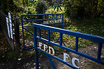 A set of gates outside the UTS Stadium before the FA Cup fourth qualifying round match between Dunston UTS and their local rivals Gateshead. Founded in 1975, the home team were formerly known as Dunston Federation. The visitors won 4-0 watched by a record crowd of 2,500.