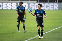 SAN JOSE, CA - NOVEMBER 04: Carlos Fierro #21 of the San Jose Earthquakes prepares for a throw in during a game between Los Angeles FC and San Jose Earthquakes at Earthquakes Stadium on November 04, 2020 in San Jose, California.