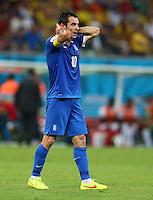 Georgios Karagounis of Greece shows a look of dejection