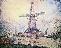 Dutch Mill at Edam, 1898 <br /> Paul Signac (1863–1935) <br /> Pointillism. landscape. <br /> Private Collection.