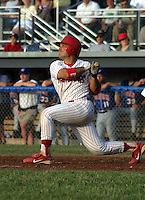 July 4, 2003:  J.R. Riley of the Batavia Muckdogs during a game at Dwyer Stadium in Batavia, New York.  Photo by:  Mike Janes/Four Seam Images