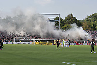 Pyros bei den Frankfurter Fans, SSV Ulm 1846 - Eintracht Frankfurt, Football, DFB-Pokal,round 1, 18.08.2018<br />DFB RULES PROHIBIT USE IN MMS SERVICES VIA HANDHELD DEVICES UNTIL TWO HOURS AFTER A MATCH AND ANY USAGE ON INTERNET OR ONLINE MEDIA SIMULATING VIDEO FOOdayE DURING THE MATCH. *** Local Caption *** © pixathlon<br /> Contact: +49-40-22 63 02 60 , info@pixathlon.de