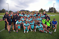 The Chiefs celebrate beating the Crusaders after the 2021 Bunnings Super Rugby Aotearoa Under-20 rugby match between the Chiefs and Crusaders at Owen Delaney Park in Taupo, New Zealand on Tuesday, 14 April 2021. Photo: Dave Lintott / lintottphoto.co.nz