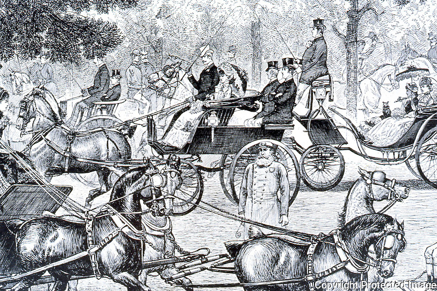 New York:  A Central Park Drive, 1883 (4 P.M.)   HARPER'S WEEKLY,  May 14, 1883.  Photo '78.