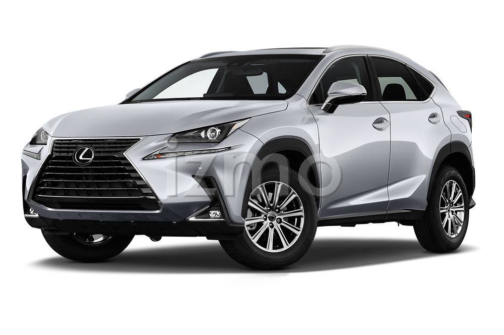 Stock pictures of low aggressive front three quarter view of a 2018 Lexus NX 300 FWD 5 Door SUV