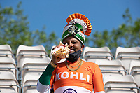 An Indian fan complete with conch ready to support India on day 6 during India vs New Zealand, ICC World Test Championship Final Cricket at The Hampshire Bowl on 23rd June 2021