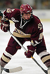 """19 January 2007: Boston College forward Nathan Gerbe from Oxford, MI, prepares for a faceoff during a Hockey East matchup against the University of Vermont at Gutterson Fieldhouse in Burlington, Vermont. The UVM Catamounts defeated the BC Eagles 3-2 before a record setting 50th consecutive sellout at """"the Gut""""...Mandatory Photo Credit: Ed Wolfstein Photo."""
