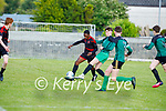 Togor Silong of Park FC and Alex McGrath of Fenit Samphires tussle for possession in the U16 Soccer league