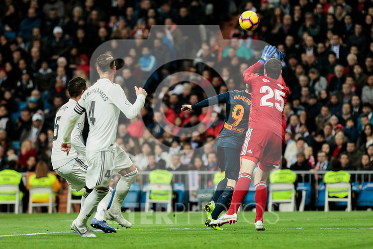 Real Madrid's Thibaut Courtois and Valencia CF's Kevin Gameiro during La Liga match between Real Madrid and Valencia CF at Santiago Bernabeu Stadium in Madrid, Spain. December 01, 2018. (ALTERPHOTOS/A. Perez Meca)
