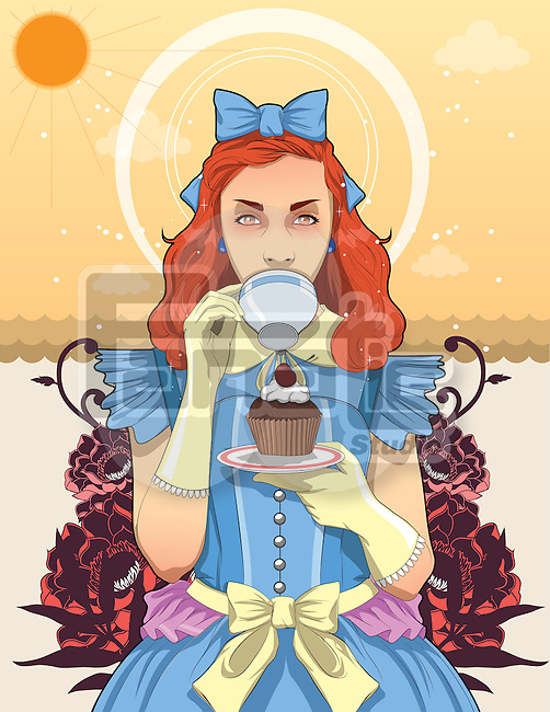 Illustration of trendy teenage girl drinking coffee while holding cupcake in plate