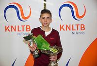 March 8, 2015, Netherlands, Rotterdam, TC Victoria, NOJK, Winner boys 16 years Amadatus Admiraal<br /> Photo: Tennisimages/Henk Koster