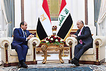 Egyptian President Abdel Fattah al-Sisi, meets with Iraq's President Barham Salih in the Iraqi capital, Baghdad on August 28, 2021. Photo by Egyptian President Office