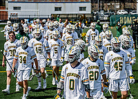 1 May 2021: The University of Vermont Catamounts take the field prior to a game against the Stony Brook University Seawolves at Virtue Field in Burlington, Vermont. The Cats edged out the Seawolves 14-13 with less than one second to play in their America East Men's Lacrosse matchup. Mandatory Credit: Ed Wolfstein Photo *** RAW (NEF) Image File Available ***