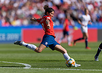 PARIS,  - JUNE 16: Carla Guerrero #3 crosses the ball during a game between Chile and USWNT at Parc des Princes on June 16, 2019 in Paris, France.