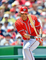 16 June 2012: Washington Nationals outfielder Michael Morse in action against the New York Yankees at Nationals Park in Washington, DC. The Yankees defeated the Nationals in 14 innings by a score of 5-3, taking the second game of their 3-game series. Mandatory Credit: Ed Wolfstein Photo
