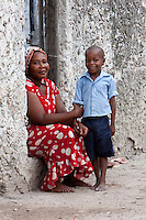 Jambiani, Zanzibar, Tanzania.  Mother and her Son.