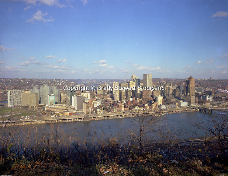 Pittsburgh PA: View of the city of Pittsburgh from Mt Washington - 1965.  Photo was taken upon the completion of the Gateway Towers.