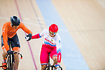 Denis Dmitriev of Russia and Harrie Lavreysen of the Netherlands hold hands after the Men's Sprint Finals - 2nd Race during the 2017 UCI Track Cycling World Championships on 15 April 2017, in Hong Kong Velodrome, Hong Kong, China. Photo by Chris Wong / Power Sport Images