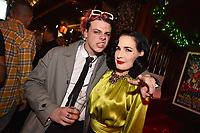 """HOLLYWOOD - FEBRUARY 20: Yungblud and Dita Von Teese attend Ozzy Osbourne global tattoo and album listening party to celebrate his new album """"Ordinary Man"""" on February 20, 2020 in Hollywood, California. (Photo by Lionel Hahn/Epic Records/PictureGroup)"""