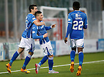Hamilton Accies v St Johnstone...31.10.15  SPFL  New Douglas Park, Hamilton<br /> Michael O'Halloran celebrates his goal, saints fourth with Joe Shaughnessy and Darnell Fisher<br /> Picture by Graeme Hart.<br /> Copyright Perthshire Picture Agency<br /> Tel: 01738 623350  Mobile: 07990 594431