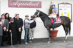 2011 03 05:  Calibrachoa,  with Ramon Dominguez up,in the winners circle,   with owner Mike Repole (2nd from right standing) from winning the Grade 3 Tom Fool Stakes, for 3-year olds & up, at 6 furlongs, on the inner dirt track, Aqueduct Racetrack, Jamaica, NY. Trainer Todd Pletcher. Owner Repole Stables