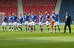 St Johnstone v Hibs…22.05.21  Scottish Cup Final Hampden Park<br />The players line up before kick off, from left, David Wotherspoon, Glenn Middleton, Chris Kane, Craig Bryson, Liam Gordon, Ali McCann, Jamie McCart, Callum Booth, Shaun Rooney, Zander Clark, Jason Kerr and manager Callum Dvaidson.<br />Picture by Graeme Hart.<br />Copyright Perthshire Picture Agency<br />Tel: 01738 623350  Mobile: 07990 594431