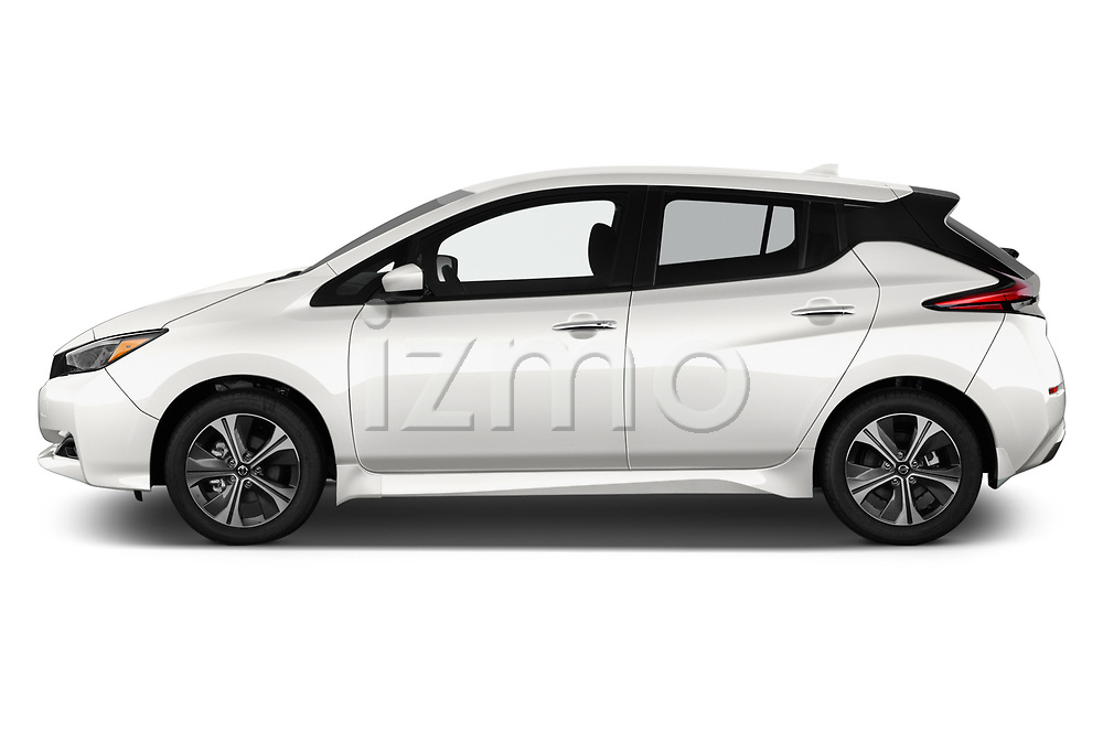 Car Driver side profile view of a 2020 Nissan Leaf SV 5 Door Hatchback Side View
