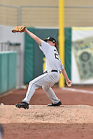 Jackson Generals starting pitcher Andrew Moore (25) warms up in the bullpen before a game against the Tennessee Smokies at Smokies Stadium on July 5, 2016 in Kodak, Tennessee. The Generals defeated the Smokies 6-4. (Tony Farlow/Four Seam Images)