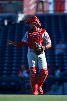 Glendale Desert Dogs catcher Edgar Cabral (30), of the Philadelphia Phillies organization, during an Arizona Fall League game against the Mesa Solar Sox on October 28, 2017 at Sloan Park in Mesa, Arizona. The Solar Sox defeated the Desert Dogs 9-6. (Zachary Lucy/Four Seam Images)