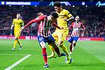 Atletico de Madrid Jose Maria Gimenez and Borussia Dortmund Jadon Sancho during group stage of UEFA Champions League match between Atletico de Madrid and Borussia Dortmund at Wanda Metropolitano in Madrid, Spain.November 06, 2018. (ALTERPHOTOS/Borja B.Hojas)