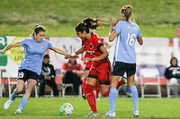 Piscataway, NJ - Sunday Sept. 25, 2016: Kelley O'Hara, Nadia Nadim, Sarah Killion during a regular season National Women's Soccer League (NWSL) match between Sky Blue FC and the Portland Thorns FC at Yurcak Field.