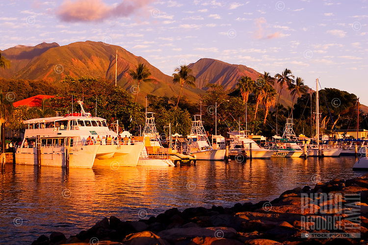 A very calm evening at Lahaina Harbor, Maui.