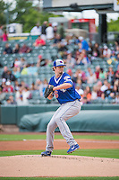 Deck McGuire (46) starting pitcher of the Oklahoma City Dodgers delivers a pitch to the plate against the Salt Lake Bees in Pacific Coast League action at Smith's Ballpark on May 25, 2015 in Salt Lake City, Utah.  (Stephen Smith/Four Seam Images)