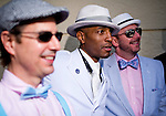 HALLANDALE BEACH, FL - JAN 28: Fans dressed up for the big event pose for a photo during the Pegasus World Cup Invitational Day at Gulfstream Park Race Course on January 28, 2017 in Hallandale Beach, Florida. (Photo by Scott Serio/Eclipse Sportswire/Getty Images)